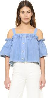 light blue off the shoulder top sjyp denim off shoulder top where to buy how to wear