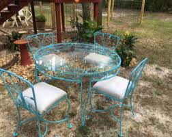 Glass Table Patio Set Vintage Wrought Iron Patio Furniture Etsy