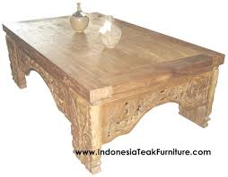 Rustic Teak Coffee Table Carved Wood Coffee Table Bali Indonesia Bali Crafts