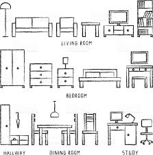 Floor Plan Icons by Vector Hand Drawn Home Furniture Outline Icons 2 Stock Vector Art