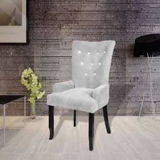 Silver Accent Chair Luxury High Back Dining Chair Tufted Velvet Silver Accent Armchair