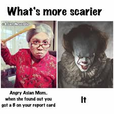 Angry Mom Meme - i d rather fight a clown than to get asians never die facebook
