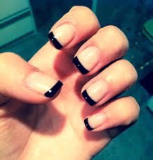 black french tip nails u003c3 fancy nails pinterest nail