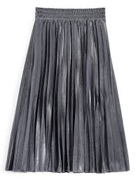 pleated skirt metallic color shiny midi pleated skirt silver skirts m zaful