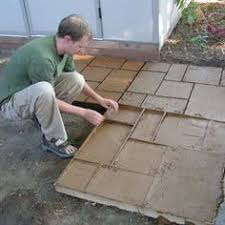 Painted Patio Pavers Create A Stylish Patio With Large Poured Concrete Pavers Poured