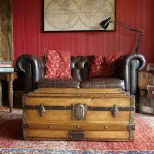 vintage steamer trunk storage chest coffee table victorian travel