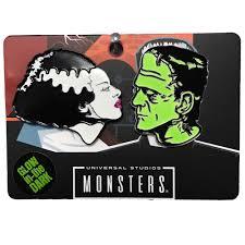 Frankenstein Shower Curtain by Universal Bride And Frankenstein Glow In The Dark Pin Set