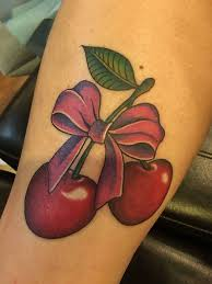 cherries with bow tattoo design for forearm