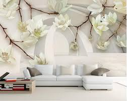 Magnolia Wallpaper Aliexpress Com Buy 3d Stereoscopic Painting The Living Room Tv