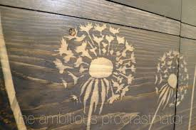 using wood using wood glue to paint in a stencil to resist wood stain