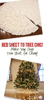 bed sheet to tree chic make your own tree skirt for cheap tree