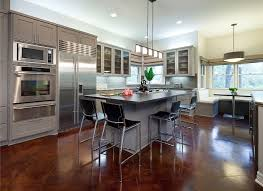 cheap kitchen lighting ideas dining kitchen polished concrete floors with barstools and