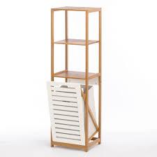 wholesale handy bamboo wood shelf unit with tilt out hamper bin at