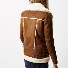 river island tan oversized aviator jacket lyst
