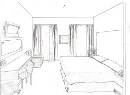 interior design bedroom sketches one point perspective type
