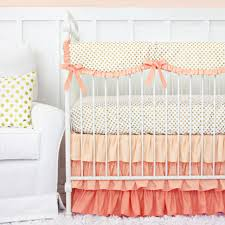 Daisy Crib Bedding Sets by Caden Lane Coral And Gold Dot Ruffle Baby Bedding