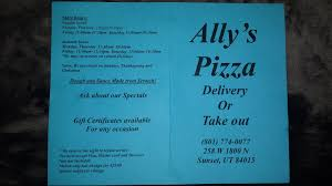 pizza places open thanksgiving ally u0027s pizza menu menu for ally u0027s pizza clearfield salt lake