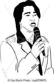clipart vector of the asian man of singing in a microphone