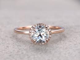 plain engagement ring with diamond wedding band 7mm aquamarine engagement ring diamond wedding band 14k