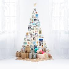 christmas card wall tree with cutout kraft paper tree skirt by