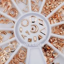 12 shapes gold metal 3d nail decorations studs nails