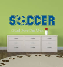 soccer lettering with sports ball wall art vinyl sticker decals soccer sports wall decals stickers for boys cool room decor loading zoom