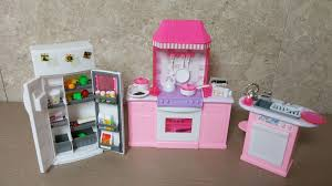 unboxing barbie kitchen set by gloria barbie size dollhouse