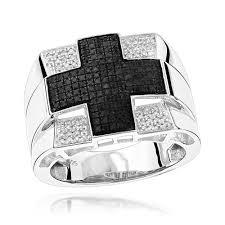 cross rings silver images Cross rings mens white black diamond ring 0 6ct sterling silver jpg