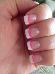 new set of shellac nails white tip with sparkly pink smile