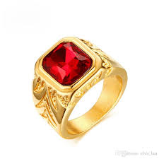 red gold rings images 2018 fashion euro us gemstone rings 15 5mm red stone mens diamond jpg