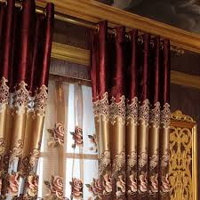 Faux Silk Embroidered Curtains European Style Velvet Faux Silk Embroidery Curtains