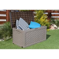 starplast rattan style garden storage box with sit on lid garden