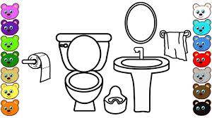 learn colors for kids with toilet room coloring pages for