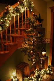 Christmas Lights For Stair Banisters Beautiful Staircase Vignette And Garland By Lessie Rustic