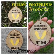 yellow footprint ornaments woody things llc