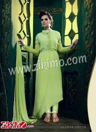 palace 9004 pista green georgette designer high low anarkali