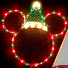 disney santa mickey mouse ears lighted christmas decoration new
