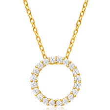 gold zirconia necklace images Cubic zirconia circle of life pendant 9ct yellow gold g10007627 jpg