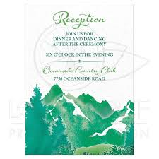 Wedding Invitation Insert Cards Mountain Wedding Reception Insert Card Watercolor Shades Of Green