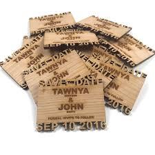 wooden wedding invitations custom save the date cutout name wood fridge magnets 2 inch x 3