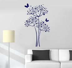 wall decal butterfly dandelion flowers home decor vinyl stickers