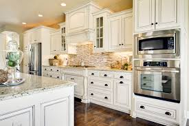 Vintage Kitchen Cabinets by Traditional And Vintage Impression In Antique White Kitchen