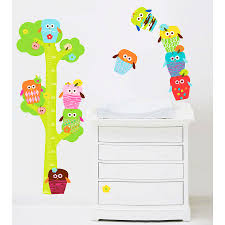 in the woodland fabric removable wall stickers owls height chart fabric wall stickers
