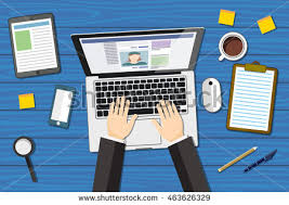 creative team working together office desk stock vector 413998093