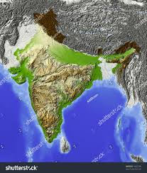 Relief Map India Shaded Relief Map Rivers Major Stock Illustration 10423180