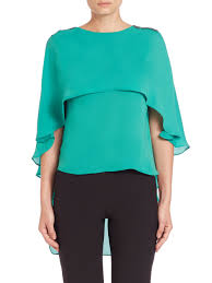 green womens blouse lyst embellished boatneck hi lo capelet top in green