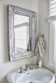 modern shabby chic bathroom frameless glass rectangle wall mirror