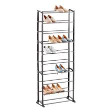30 pair shoe cabinet gunmetal 30 pair shoe rack the container store