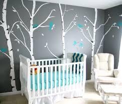 fresque murale chambre bébé peinture mur chambre bebe decoration chambre bebe turquoise et gris