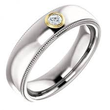 gold wedding band mens mens bezel set wedding ring mens bezel set wedding band